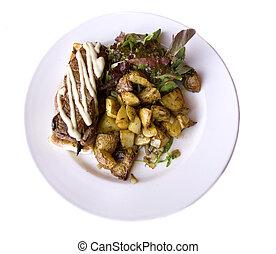 NY steak and roasted - Restaurant dish