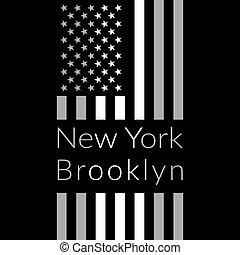 NY t-shirt design - New York Brooklyn Typography on black...