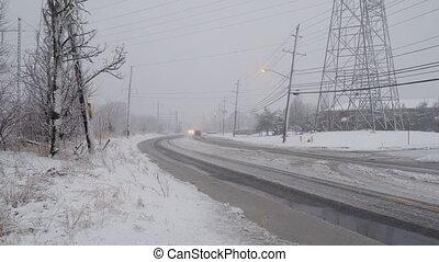 NY USA January 13: Winter, snow, Blizzard, poor visibility...