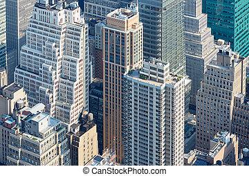 ny york city, skyline manhattan, aerial udsigt, hos, lys, farver, skyskrabere, ind, sollys