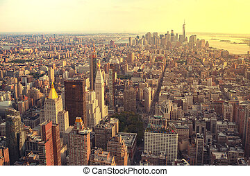 ny york city, skyline manhattan, aerial udsigt