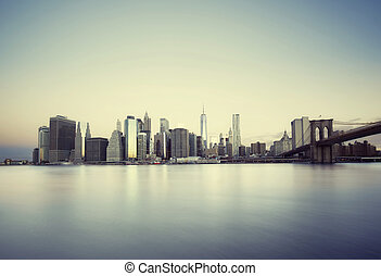 ny york, solopgang, byen