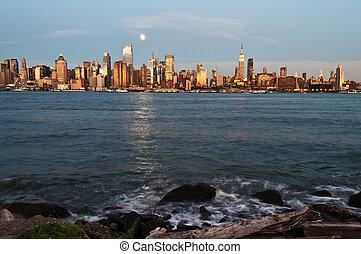 ny york stad horisont, över, hudson flod