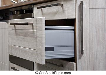 Modern, nyílik, konnektor, konyha. Belső, szoba, modern,... képek ...