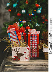nya år, och, jul, inre, 2