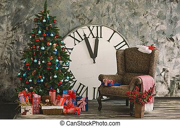 nya år, och, jul, inre, med, timmar, 2