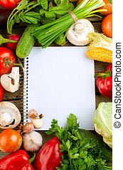 nya vegetables, kost, bakgrund., öppna, anteckningsbok