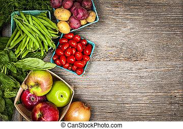 nya vegetables, marknaden, frukter