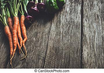 nya vegetables, på, trä plankor
