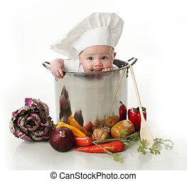 nyalás, csecsemő ül, alatt, egy, konyhafőnök, edény