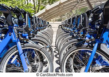 nyc, 城市, 自行車, 租金, 停車處