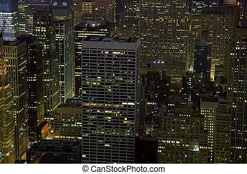 nyc, bâtiments, soir