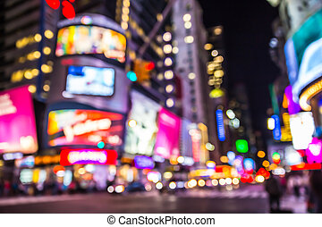 NYC Blur - New York City defocused blur of Times Square lit...