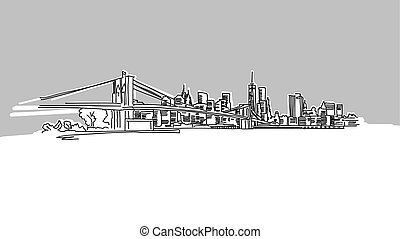 NYC Brooklyn Bridge Panorama Skyline Vector Sketch. Hand...