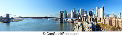 nyc, brooklyn bridzs, panoráma