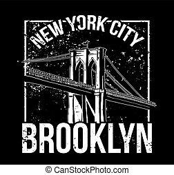 NYC Brooklyn - Street style black white print with Brooklyn...