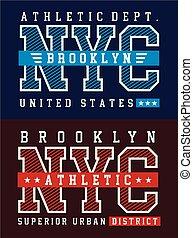 NYC Brooklyn United States - NYC Brooklyn Typography design...