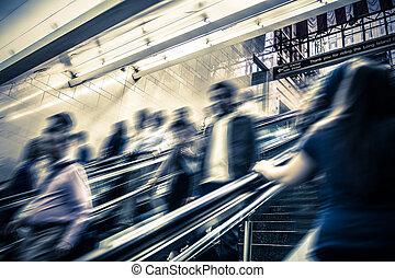 NYC commuter blur