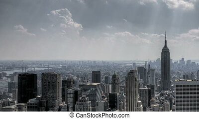 NYC Downtown Sunrays and Clouds - HDR Timelapse of New York...