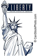 nyc, frihet, staty, usa, symbol