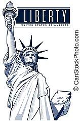 nyc, libertad, estatua, estados unidos de américa, símbolo