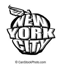 nyc, logotipo, manzana, grande