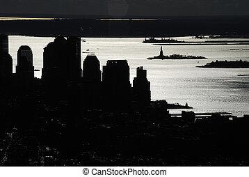 NYC Manhattan - new york Manhattan skyscrapers contour