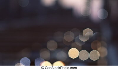 New York City Brooklyn Bridge defocused abstract city night lights background