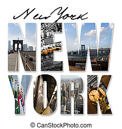 A New York City themed montage or collage featuring different famous locations and areas of The Big Apple.