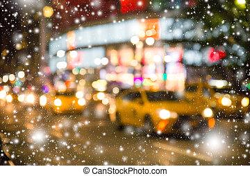 NYC Snowy Night Blur