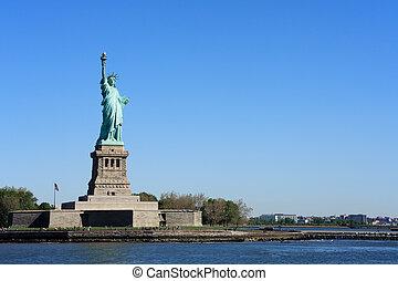nyc, -, statua, libertà