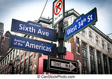 NYC Street Signs Intersection in Manhattan, New York City