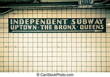NYC Subway Wall - Retro tiled wall in New York City subway...