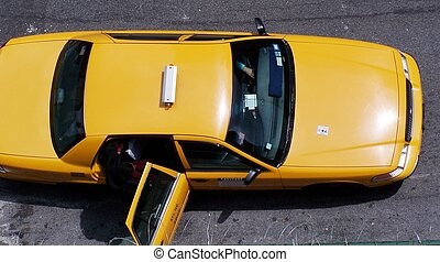 taxi from above - NYC taxi from above with door open