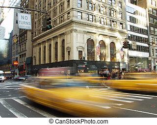 nyc, -, taxi jaune