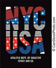 NYC Typography Design Texture Flag America