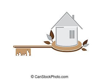 nyckel, från, den, hus