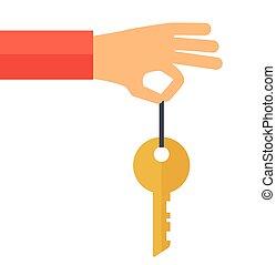 nyckel, hand