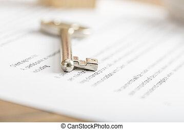 nyckel, hus, försäljning, avtal