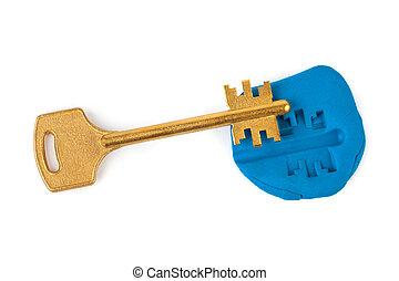 nyckel, intryck, -, säkerhet, begrepp
