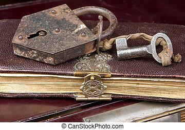 nyckel, på, bok