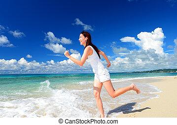 nyde, kvinde, strand, sollys