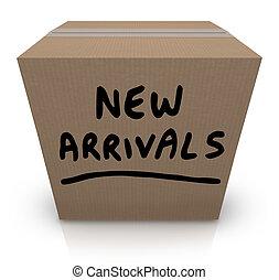 nye, ankomster, karton æske, senere, produkter, merchandise