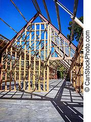 nye, beboelses, konstruktion, hjem