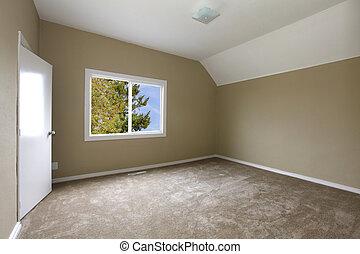 Nye, soveværelse, beige, gulvtæppe. Store, nye, vindue,... stock ...