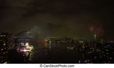 NYE celebration in Australia - An extreme wide shot of the...