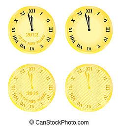 nye, clocks, år, kvæld, 2012
