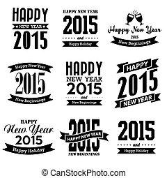 nye, glade, konstruktion, typographic, år