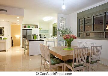 nye, køkken, ind, en, moderne, hjem