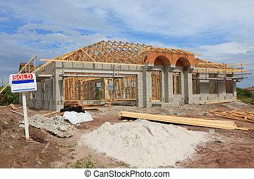 nye, konstruktion, blokken, hjem